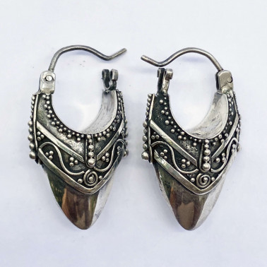 ER 13594-(UNIQUE 925 BALI SILVER FILIGREE EARRINGS)